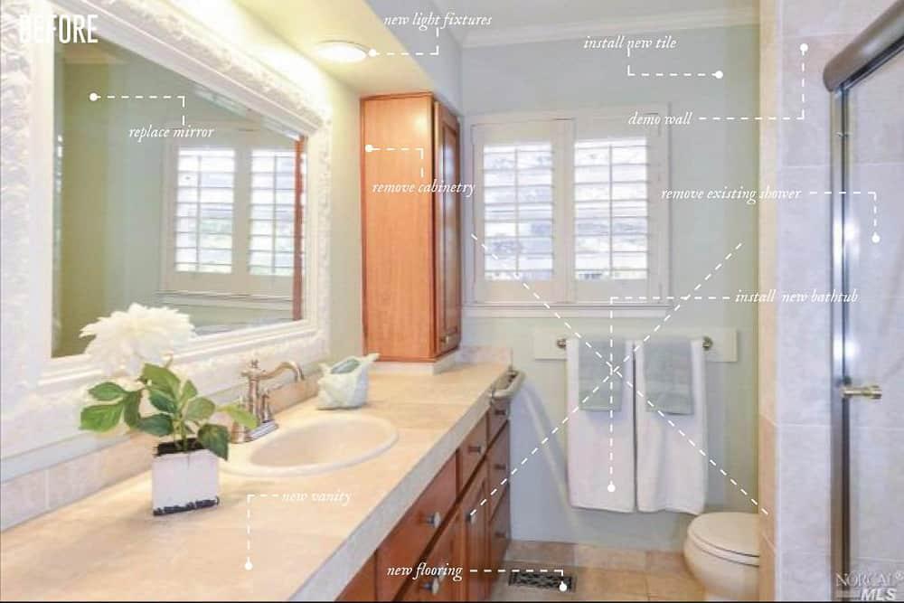 Napa Farmhouse Girl's Bathroom Remodel Before Image