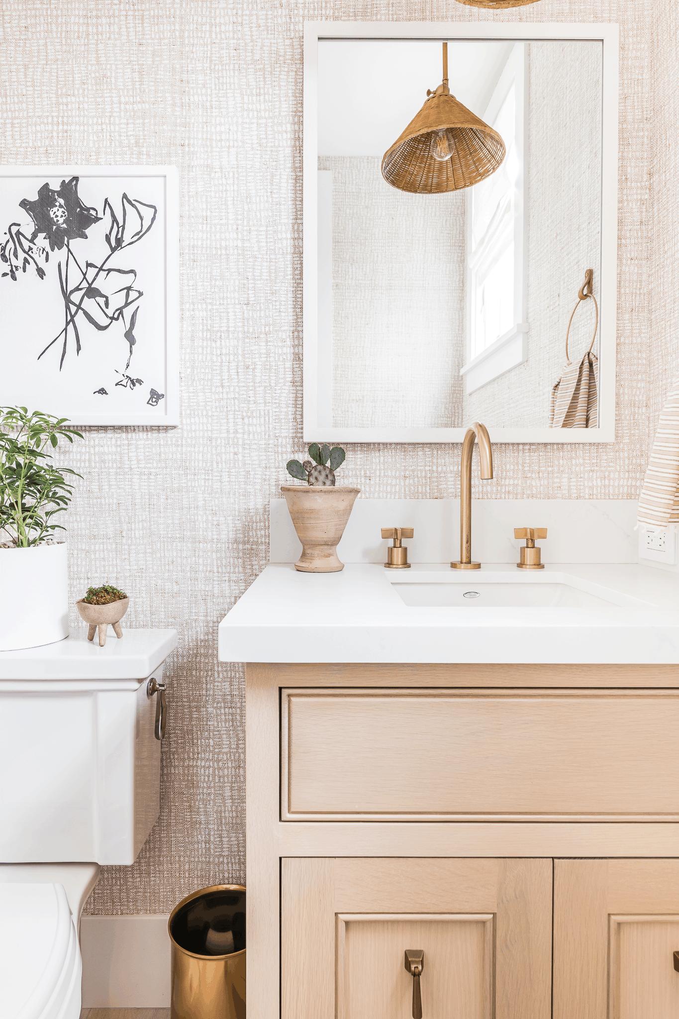 Blush Wallpaper In Powder Bath - Mindy Gayer Marigold Project