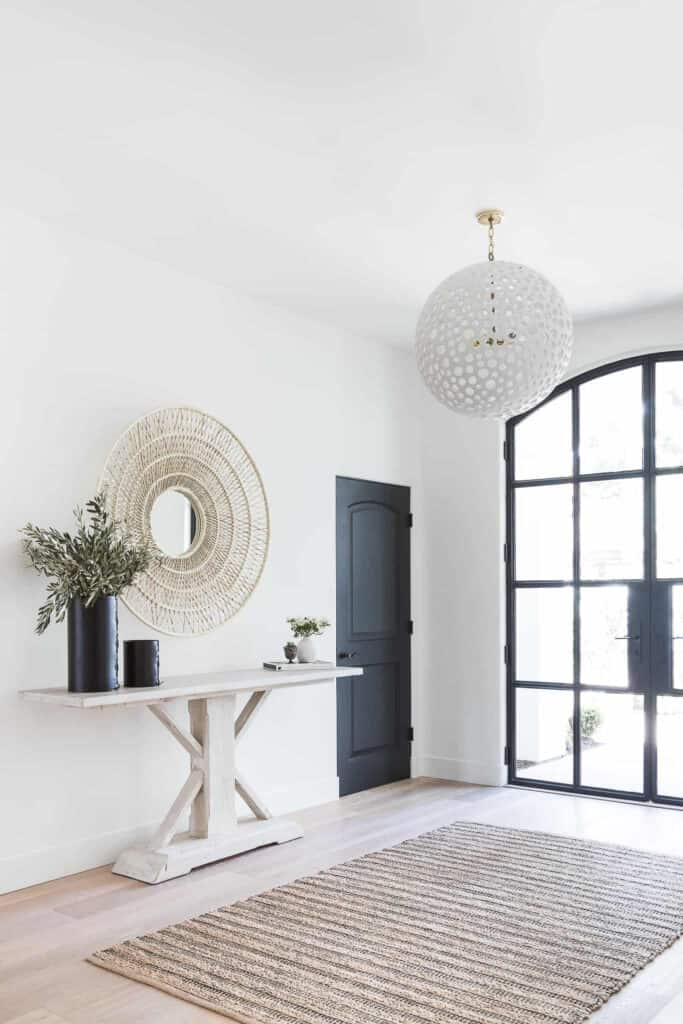 White Console Table With Woven Mirror - The MGD Log