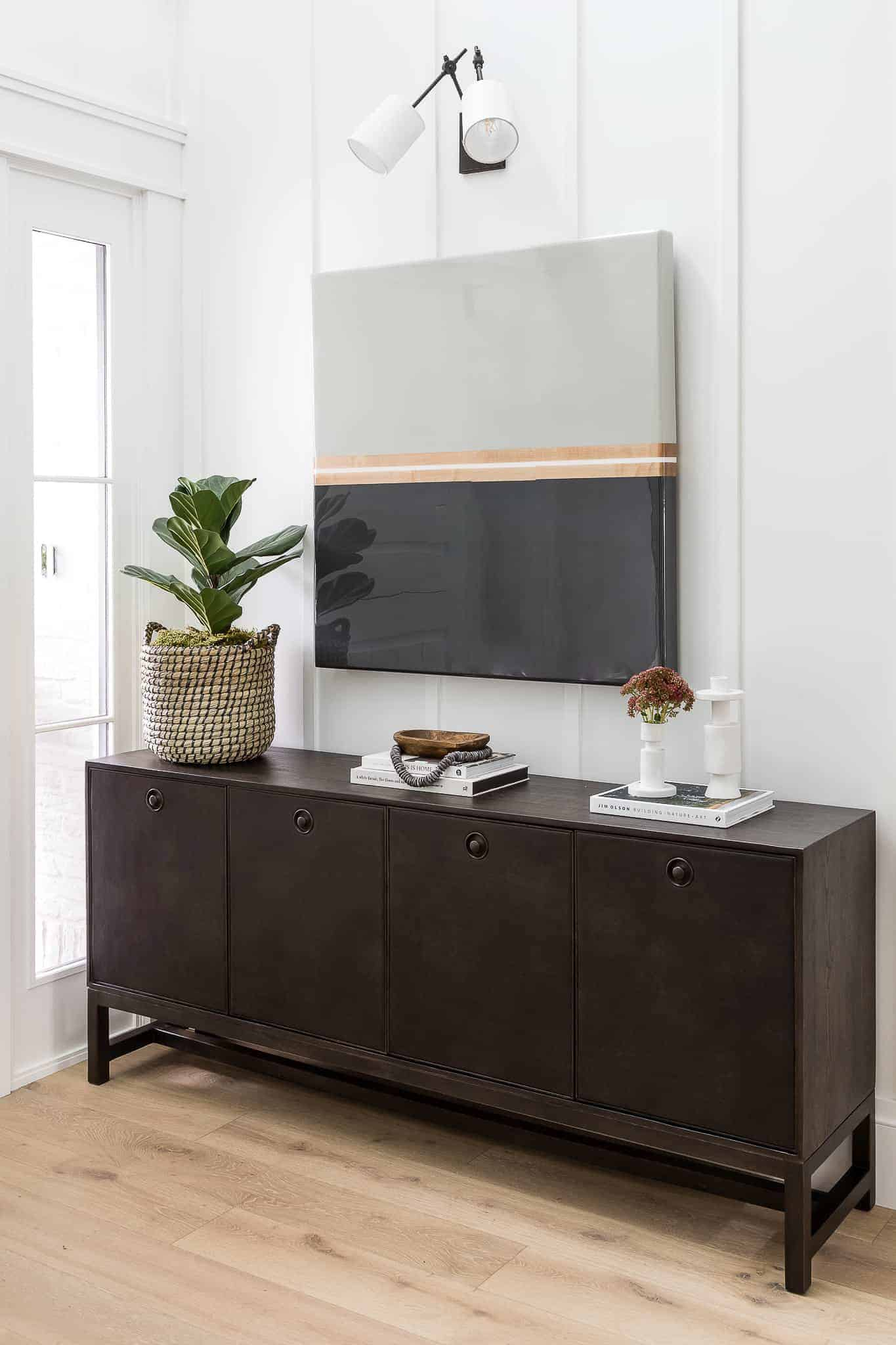 Dark Console Table With Oversized Art - Mindy Gayer Design Co.