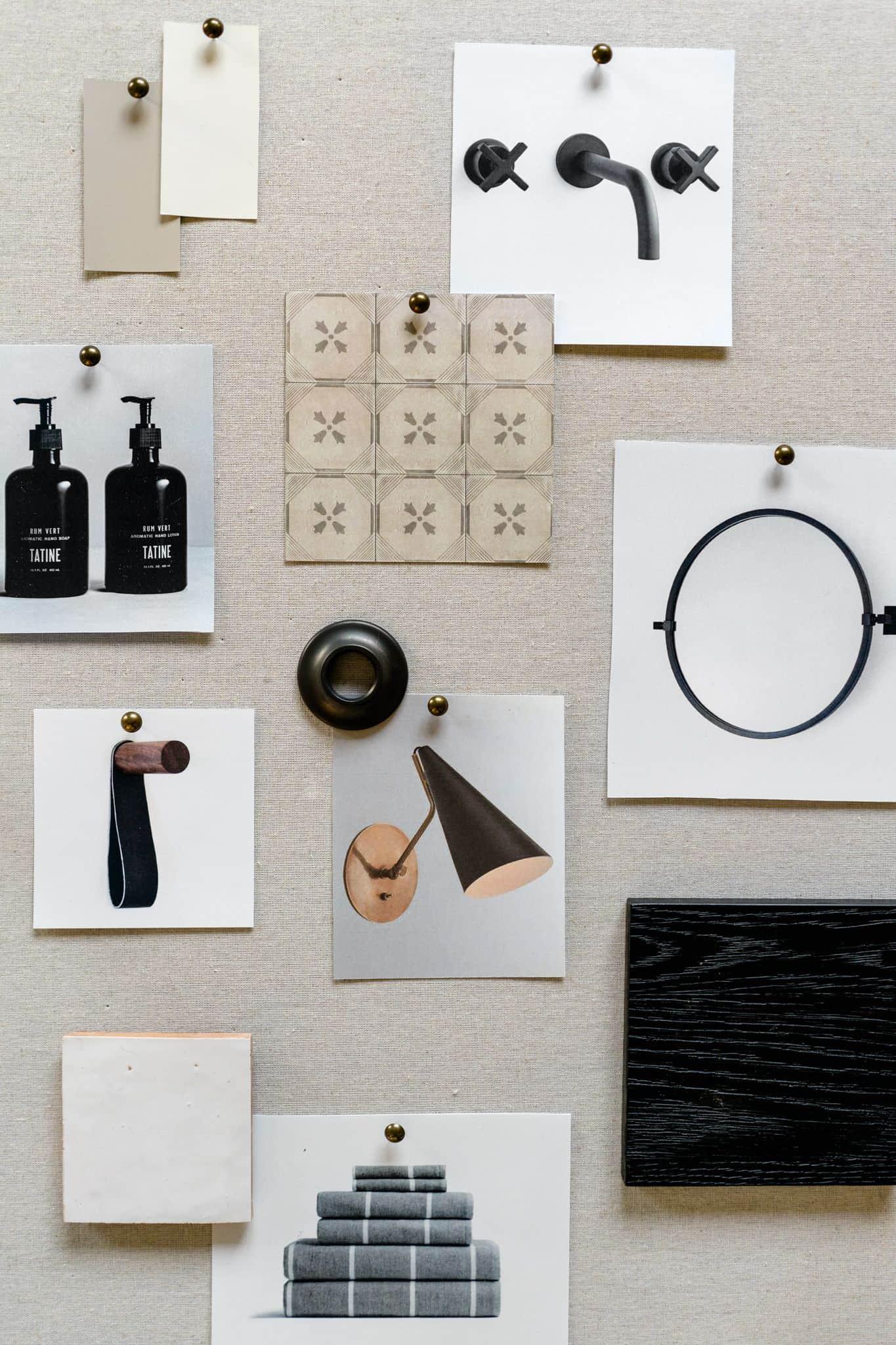 Dark Bathroom Mood Board - Mindy Gayer Design Co.
