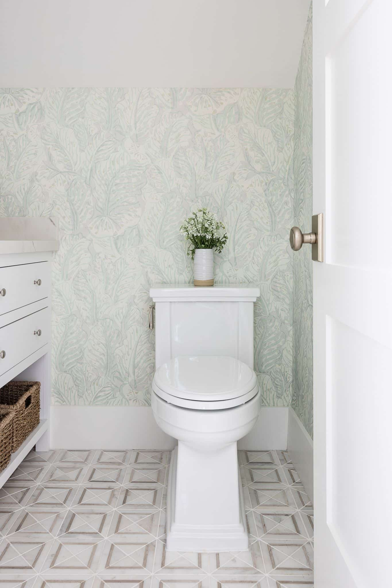 Port Newport Project - Mindy Gayer Design Co. - Wallpaper Powder Room