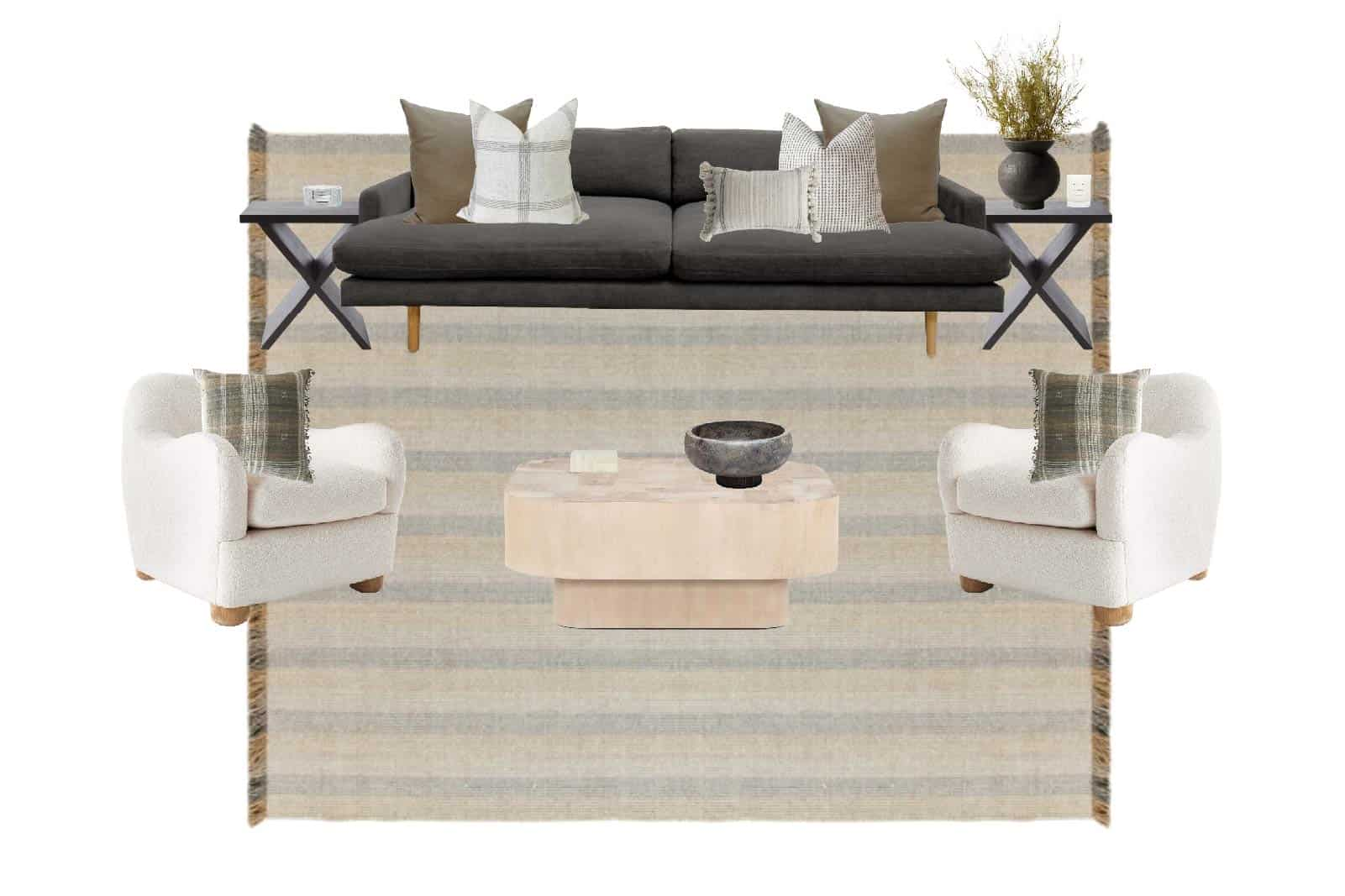 Moody Living Room E-Design by Mindy Gayer Design Co.